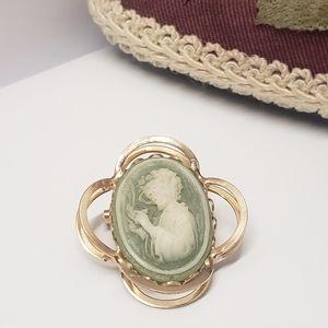 Vintage Green Cameo Brooch